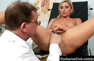 Scheming blond chick Leona vagina gyno checkup