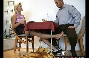 Mature auriferous slut rubbing small dick with reference to her feet