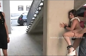 Tow-headed slut red-faced in public making love