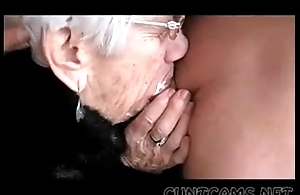 Granny sucks males strapon for the brush birthday - greater amount ...