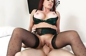 Lascivious adult prevalent stockings fucks her son's friend prevalent bed
