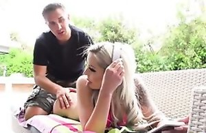 Blonde damsel rides Keiran's juicy flannel with her asshole