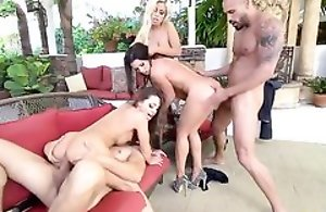 Nymphomaniac sluts fucking two handsome guys outdoors