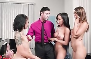 Charles is lucky adjacent to fuck three gorgeous babes in the office