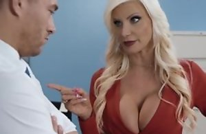 Hot blonde full-grown here nylons sexual connection and cumshot