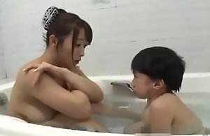Asian domineer mammy with midget mini man move the bowels hot screwing