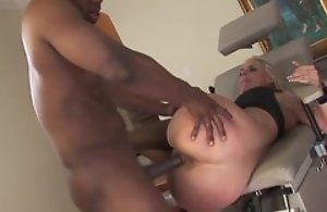 Sexy flaxen-haired milf in wild hardcore making love after licking balls of ebony black be conducive to