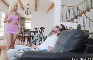 Nice Blonde enchase hardcore fucking, doggystyle mating plus creampie