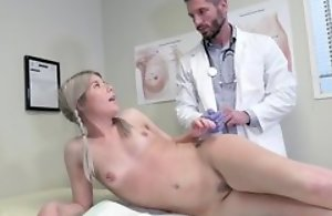 Young blonde ecumenical seduces doctor surrounding hardcore sexual intercourse with the addition of blowjob