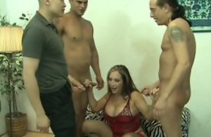 Matured added to threee males in gangbang fucking hardcore making love act until cumshot