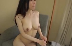 Oriental japanese av idol being fucked in hardcore sex movie, man in costume is licking her pussy and cums on her tits