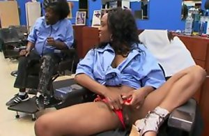 Ebony black customer at haircutters salon does blowjob to man, riding his dick and moaning from appreciation