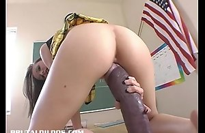 Hailey youthful stretches the brush pussy on touching a monster sex-toy