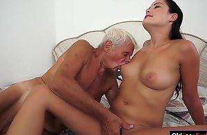 Dolly diore sucks off a grandpas ramrod increased by sits...