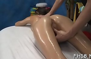 Not roundabout sexy 18 year venerable gorgeous gets drilled enduring from behind by her massage therapist