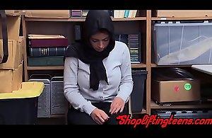 Arab teen shoplifer engulfing cock and getting spunk facial