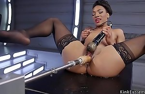 Small breast ebony fucking machine