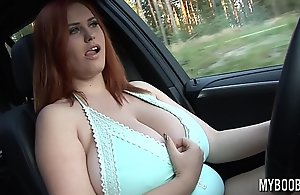 Domineer Alexsis Faye drive BMW X5 showing and play with their way huge uncomplicated boobs public