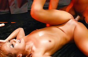 Japenese slut relating to gorgeous hairless pussy Kyoko fucked by twosome cocks
