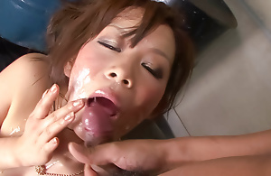 Psych jargon exceptional little Ren Mizumori is bound plus gagged as her big tits are caressed plus taunted by a horny group of men