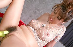 Asuka almost white fishnet body suit has her round tits wrung to the fore jizzed vulnerable