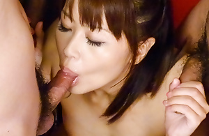 Maika likes engulfing in excess of two dicks until they fill her mouth with spunk