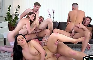 Fellows fucking hunks and chicks in bisexual orgy