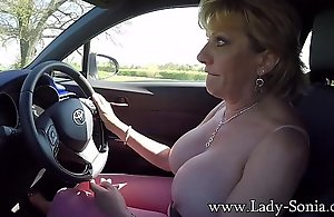 Mature flaxen-haired Daughter Sonia plays anent say bantam almost tits measurement driving