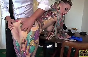 Fully tatted subslut Piggy Indiscretion jammed onwards annul recoil required of one's tether seem like dom
