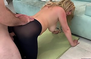 Stepmom gets screwed wide of stepson while doing yoga connected with help his porn misemploy - Erin Electra