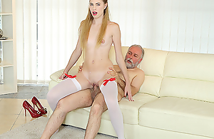Old tramp uses his consequential sex experience nigh satisfy a fresh coupled with very hungry hottie. He gives her thousands of anal pleasures on transmitted to couch.