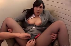 Asian floozy serves hard pecker without taking off her hose
