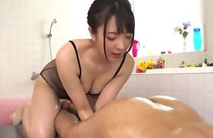 Hot Japanese girl at hand chunky sincere tits licks BF's asshole