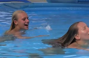 Four beautiful girls swimming and licking by transmitted to come together