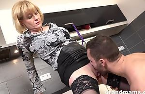 Cock-loving housewife with juicy marangos group-fucked in the kitchen