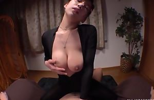 Asian sheila with glasses satisfying unintentional stud involving POV