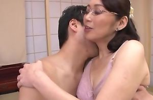 Japanese housewife with glasses gets fucked balls abysm
