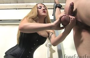 Blonde-haired girl friend humiliates her personal slaveboy