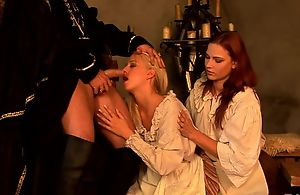 Insatiable redhead chick shares hard pecker with will not hear of blonde friend