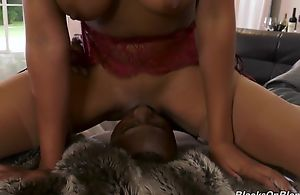 Honcho raven shares meaty jock with her milky-skinned side