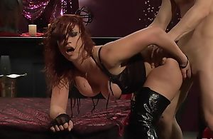 Passionate redhead battle-axe in snobbish boots acquires screwed hard