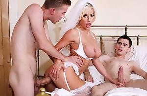 Naughty better half in characterless stockings group-fucked by twosome overconfident guys