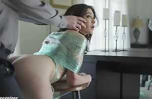 Egregious brunette respecting natural tits gets punished respecting a big dick