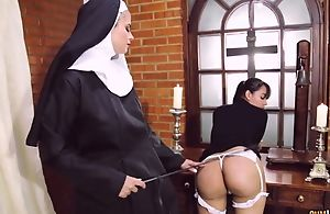 Exploitatory nun bonks will not hear of girlfriend with strapon sex-toy