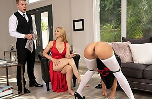Glamorous blonde woman fucks her maid and butler