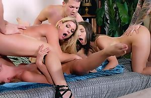 Mind-blowing swinger party respecting three horny ladies