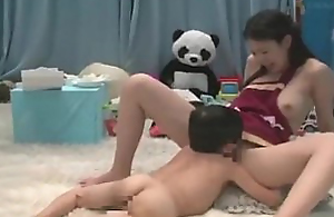 Japanese midget licking genteel pussy and gets blowjob
