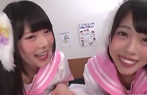 Several smiley Asian girls swell up blinker throbbing weasel words concerning POV