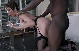 Short-haired grown-up in black nylons gets torn up on the table
