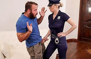Gorgeous cop son with big juggs bonks bearded stallion